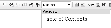 Macro for Table of Contents