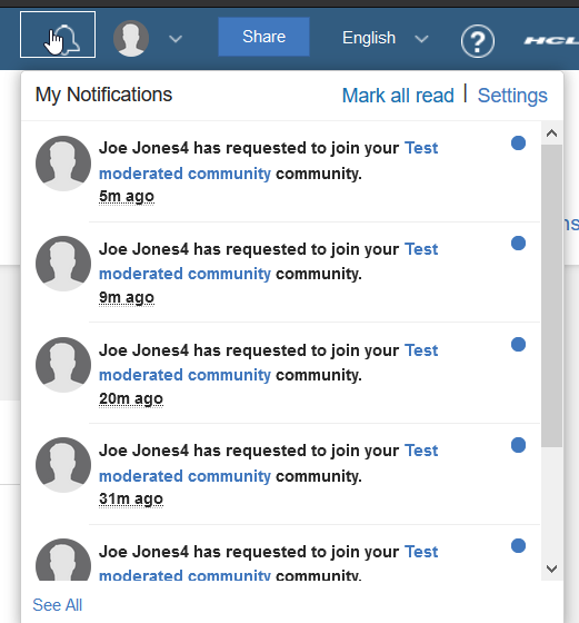 request community join notificationbell